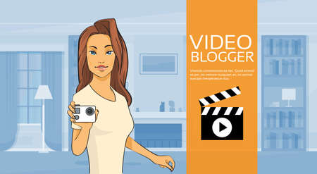 home video camera: Woman Hold Camera Video Blog Concept Home Interior Vector Illustration Illustration