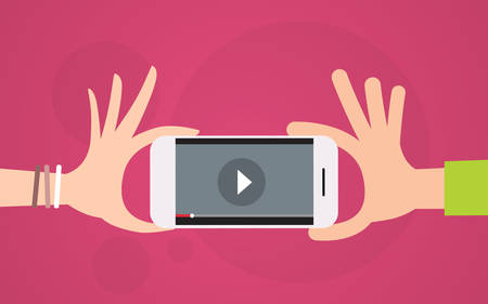 Video Blog Hand Hold Cell Smart Phone Player Flat Vector Illustration
