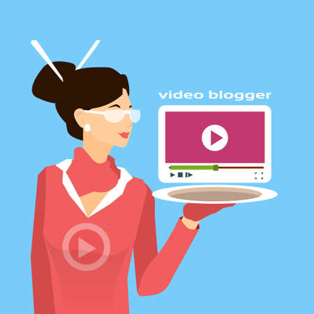 subscriber: Asian Woman Hold Tablet Player Interface Video Blog Concept Flat Vector Illustration Illustration