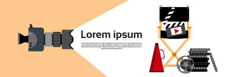 Video Film Production Indusrty Concept Horizontal Banner Flat Vector Illustration