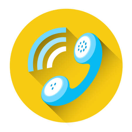 Phone Receiver Outgoing Call Icon Flat Vector Illustration Illustration