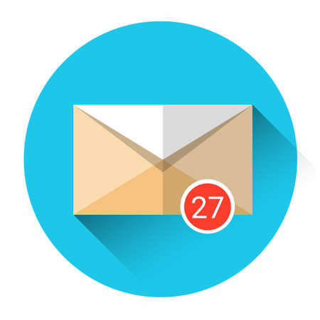 inbox: Envelope Email Icon Inbox Message Send Business Mail Flat Vector Illustration