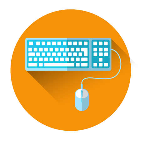 keyboard and mouse: Computer Keyboard Mouse Colorful Icon Flat Vector Illustration
