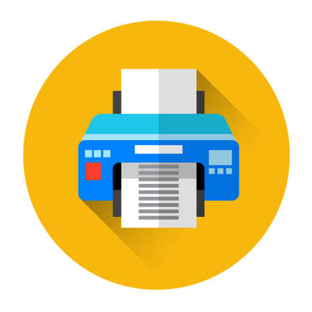 office printer: Office Printer Colorful Icon Flat Vector Illustration
