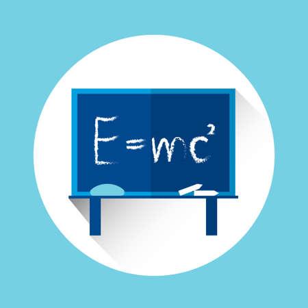 formulation: Albert Einsteins Physical Formula on School Board Mass Energy Equivalence Flat Vector Illustration Illustration