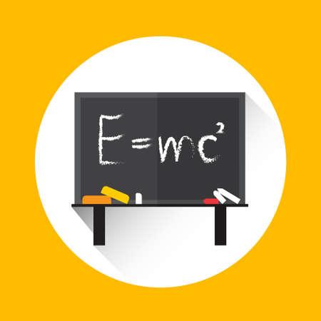 white matter: Albert Einsteins Physical Formula on School Board Mass Energy Equivalence Flat Vector Illustration Illustration