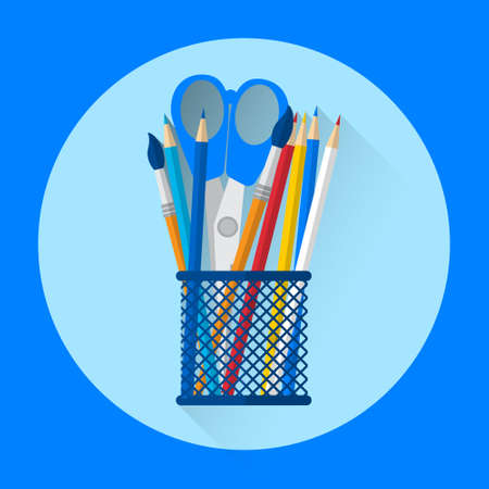 pen holder: Pen Holder Office Equipment Colorful Icon Flat Vector Illustration