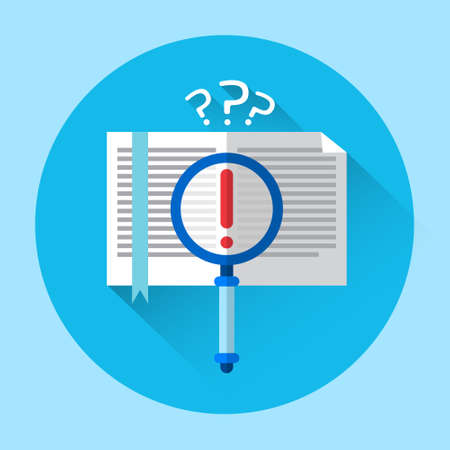 open notebook: Open Notebook With Question Mark School Homework Workplace Angle View Icon Flat Vector Illustration