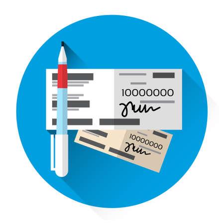 check book: Financial Bill Document Check Book Icon Flat Vector Illustration Illustration