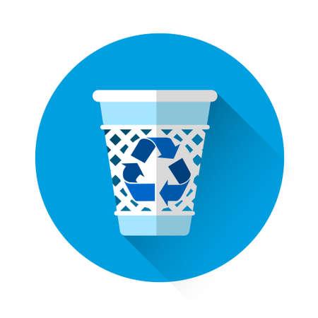 rubbish bin: Rubbish Bin Recycle Colorful Icon Flat Vector Illustration Illustration