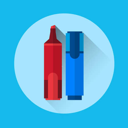 pen and marker: Marker Pen Highlighter Colorful Icon Flat Vector Illustration