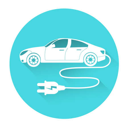 car side view: Electric Car Side View Icon Flat Vector Illustration