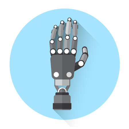 palm of hand: Modern Robot Hand Palm Icon Flat Vector Illustration