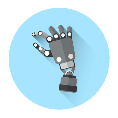 finger touch: Modern Robot Hand Finger Touch Screen Icon Flat Vector Illustration Illustration
