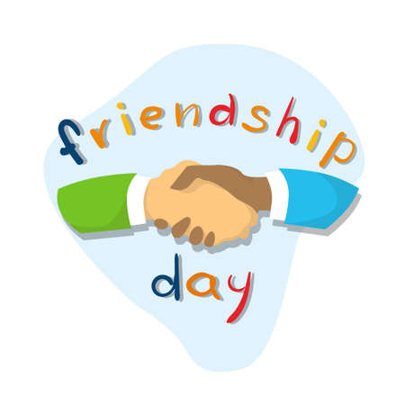 hands shaking: Hands Shaking Friendship Day Flat Vector Illustration