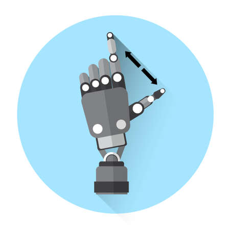 flat screen: Modern Robot Hand Finger Touch Screen Icon Flat Vector Illustration Illustration