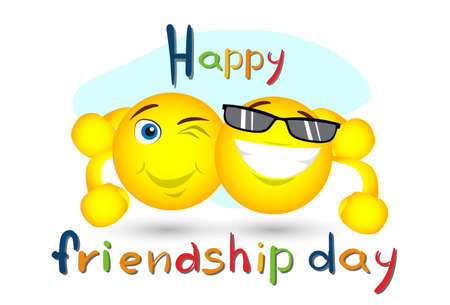 embrace: Friendship Day Cartoon Smile Characters Embrace Friend Holiday Flat Vector Illustration