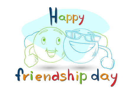 Friendship Day Cartoon Smile Characters Embrace Friend Holiday Flat Vector Illustration