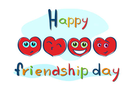 meet and greet: Friendship Day Cartoon Heart Shape Friend Holiday Banner Flat Vector Illustration Illustration