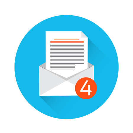 inbox: Envelope Open Mail Email Inbox Message Icon Flat Vector Illustration