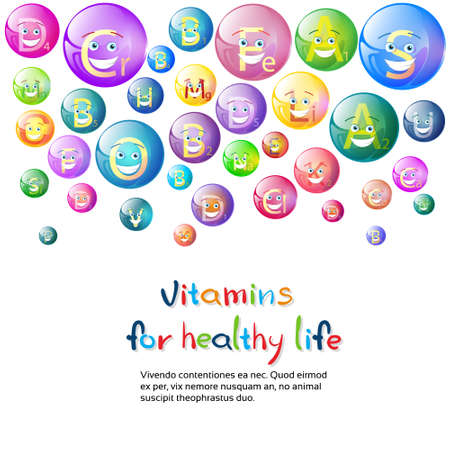 nutrient: Vitamins Nutrient Minerals Colorful Banner Healthy Life Nutrition Chemistry Element Concept Flat Vector Illustration