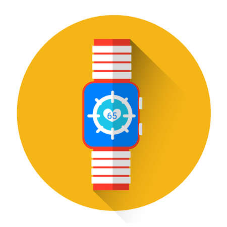 heart monitor: Smart Watch Heart Pulse Monitor Icon Flat Vector Illustration Illustration