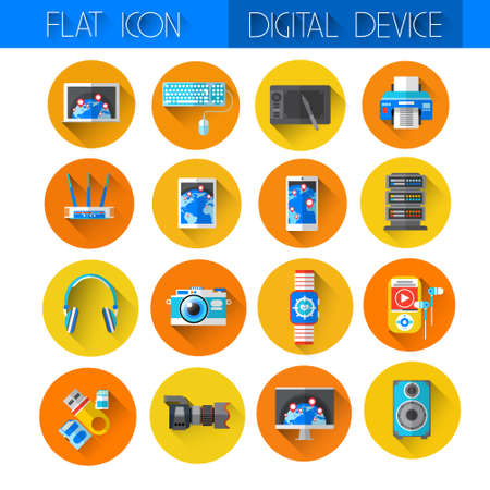 Digital Devices Icon Set Collection Flat Vector Illustration