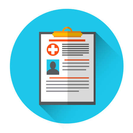 diagnosis: Medical Diagnosis Paper Document Medicine Icon Flat Vector Illustration
