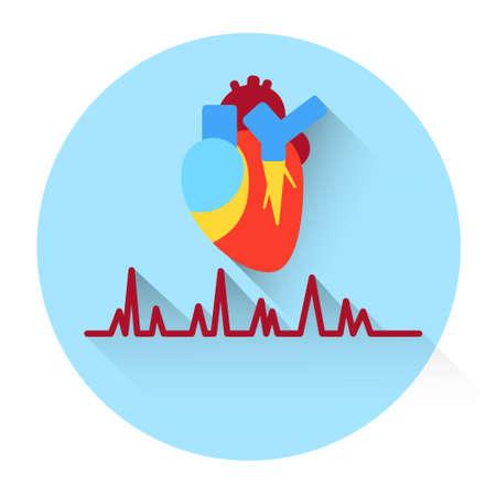 heath: Heart Pulse Medicine Icon Flat Vector Illustration