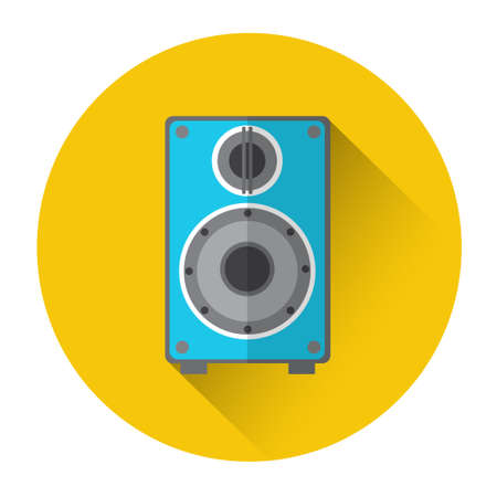 Music Studio Audio Monitor Speakers Column Icon Flat Vector Illustration Illustration