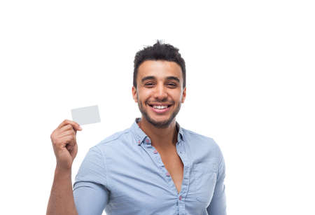businesscard: Handsome business man displaying blank empty business card happy smile, businessman wear blue shirt isolated over white background