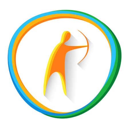 Archer With Archery Sport Game  Competition Icon Vector Illustration