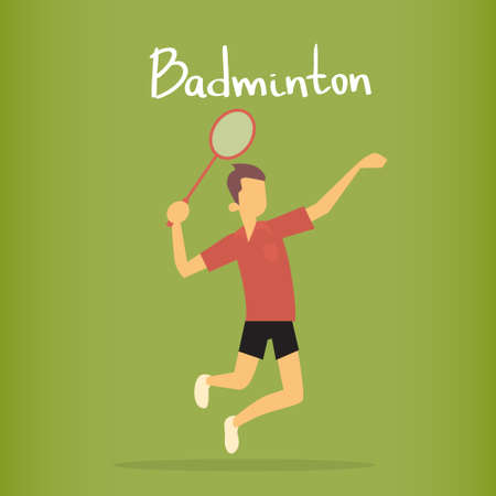 Badminton Player Sportsman Sport Competition Flat Vector Illustration