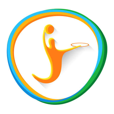 sportsman: Basketball Player Sportsman Sport Game  Competition Icon Vector Illustration