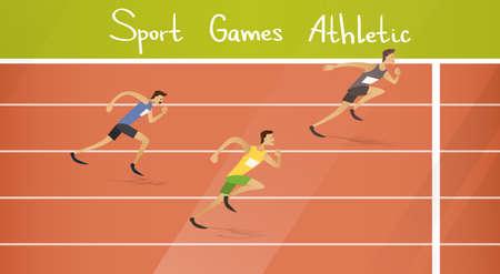 sprint: Runner Athlete Running Sprint Track Sport Competition Flat Vector Illustration