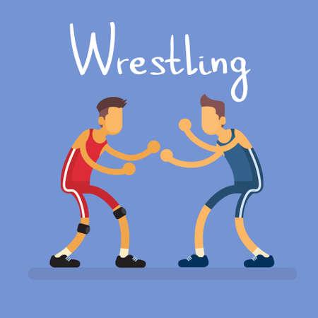 Wrestling Two Wrestler Opponent Sport Competition Flat Vector Illustration