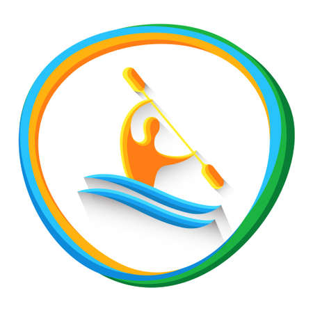 Canoe Slalom Athlete Sport Game  Competition Icon Vector Illustration