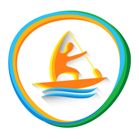 sprint: Canoe Sprint Athlete Sport Game  Competition Icon Vector Illustration Illustration