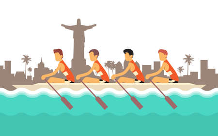 Rowing Team Sport Competition Flat Vector Illustration