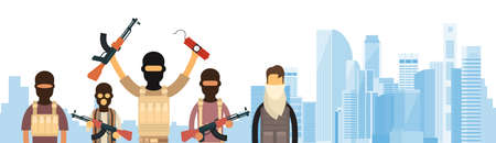 middle east crisis: Terrorist Group Over City View Banner Flat Vector Illustration