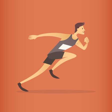 Running Athlete Sprinter Sport Competition Flat Vector Illustration