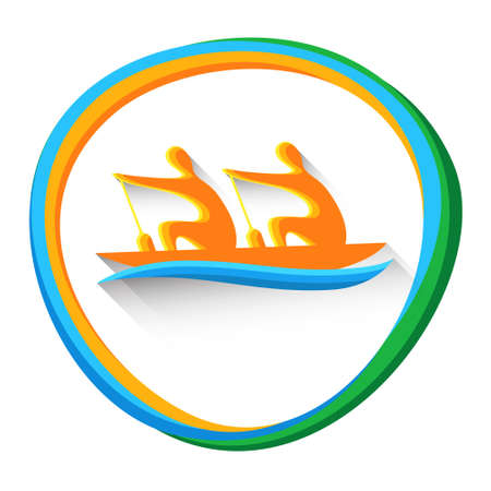 Rowing Sport Game  Boating Competition Icon Vector Illustration
