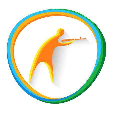 Shooting Athlete Sport Competition Icon Vector Illustration