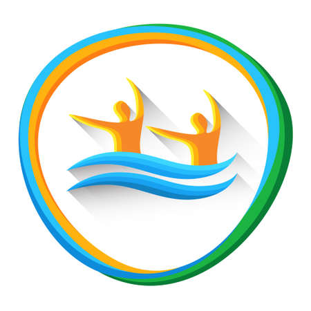 synchronized: Synchronized Swimming Sport Game  Competition Icon Vector Illustration