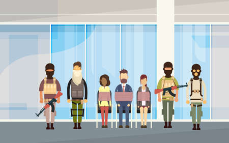 Terrorist Group Holding Hostages Terrorism Concept Flat Vector Illustration