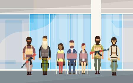 Terrorist Group Holding Hostages Terrorism Concept Flat Vector Illustration Vectores