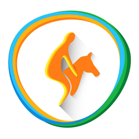 Sportsman Equestrian Horse Sport Competition Icon Vector Illustration