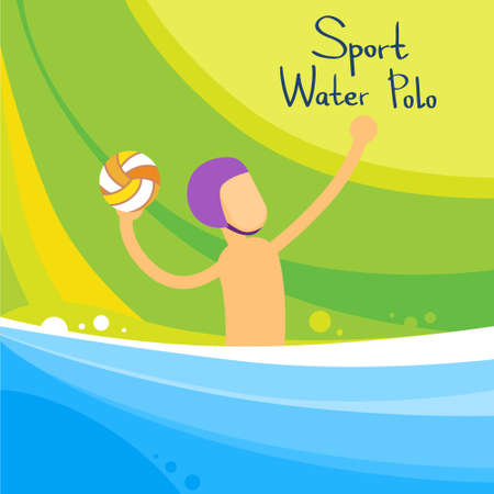 polo player: Water Polo Player Game Sport Competition Flat Vector Illustration