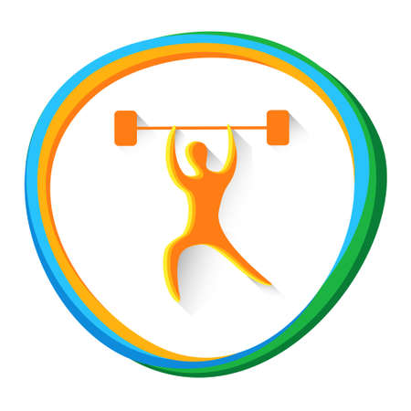 simplicidad: Ilustración de levantamiento de pesas Deporte Competencia de juegos del icono del vector
