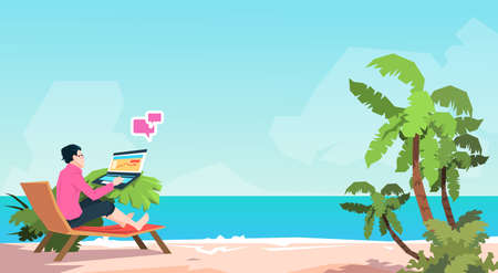vacation with laptop: Business Man Freelance Remote Working Place On Sunbed Businessman Using Laptop Beach Summer Vacation Tropical Island Flat Vector Illustration